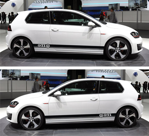 Volkswagen VW Golf Mk.1 2 3 IV V Plus Car Side Racing Stripes Kit Sticker GTI - Infinity270