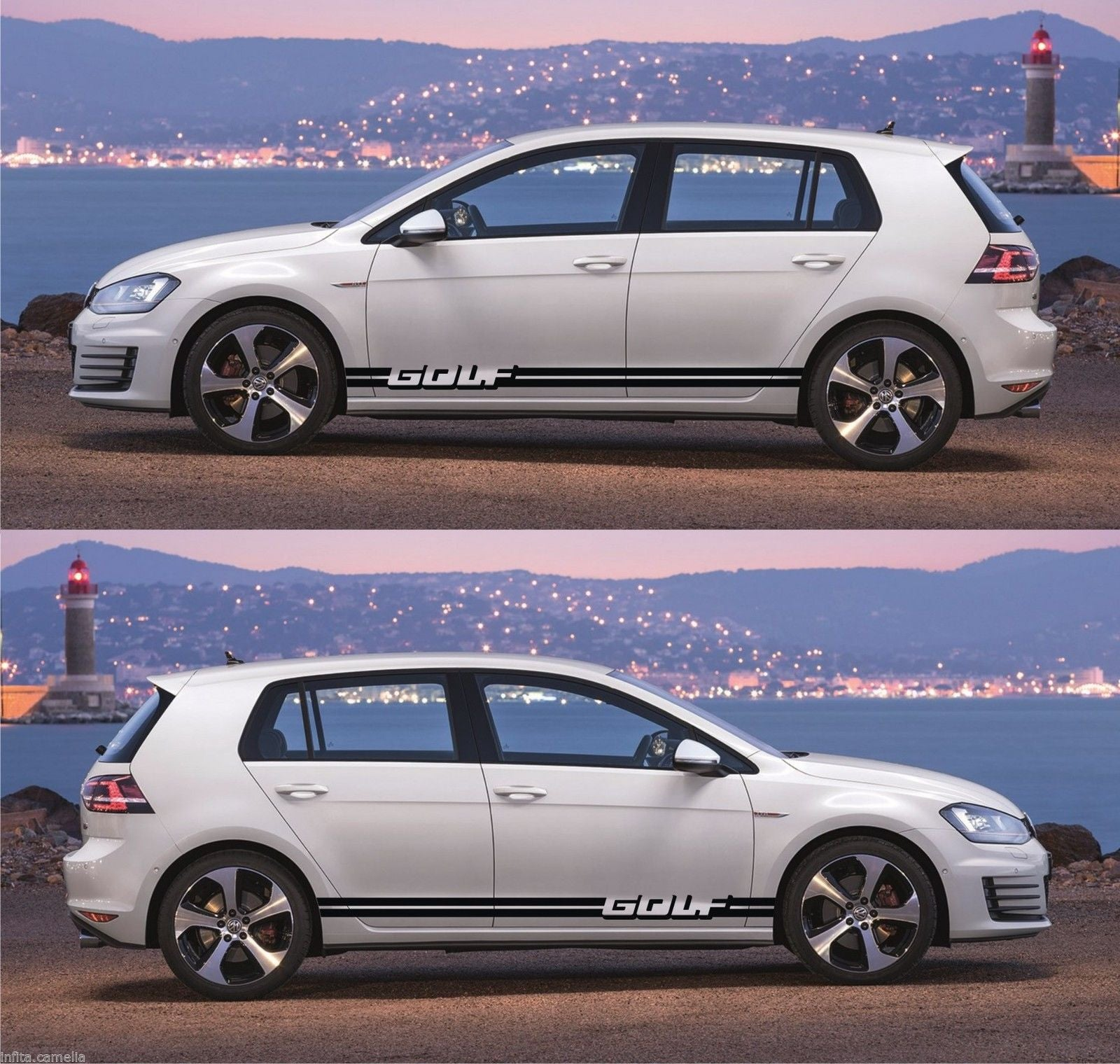 Vw stickers volkswagen golf mk 1 2 3 iv v car side racing stripes kit decals turbo drift lower speedhunters infinity270