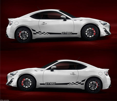 Toyota GT86 Boxer GTS FR-S Subaru Hachi-Roku Checkered Stripes Kit Sticker V5 - Infinity270  - 1