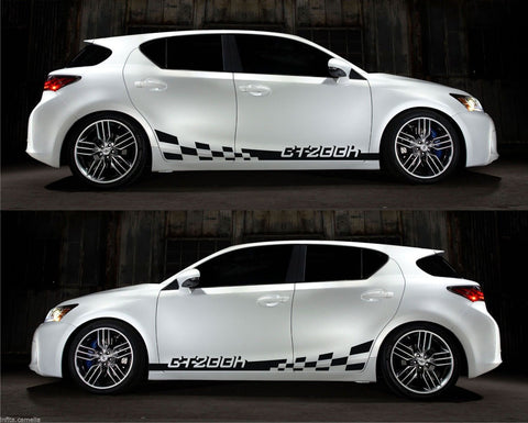 Lexus CT 200h VVTi Hybrid Electric Toyota racing Stripe Sticker Kit Checkered V1 - Infinity270  - 1