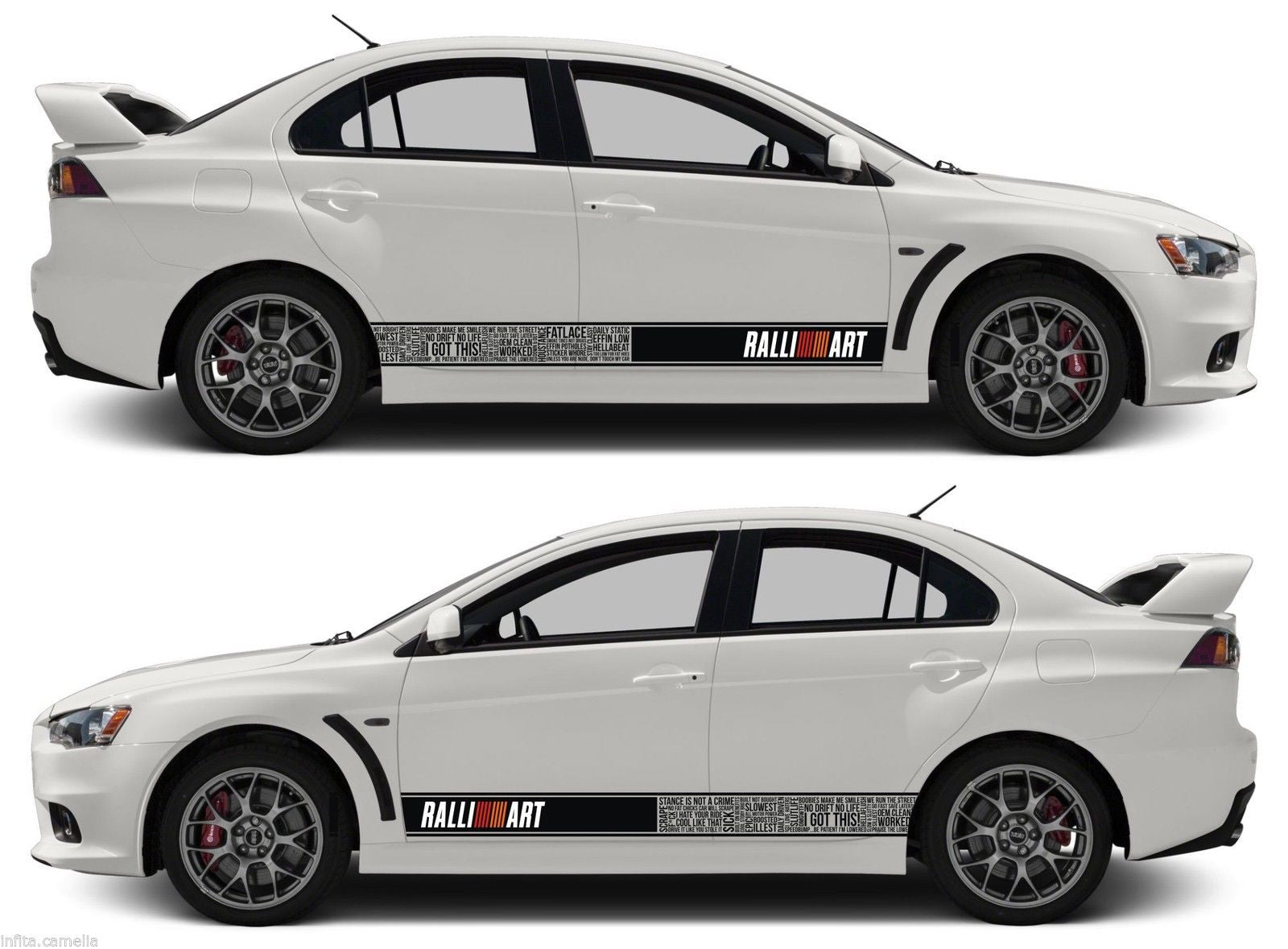 Mitsubishi bomb stripes sticker ralliart mivec lancer evolution outlander evo jdm japan infinity270 1