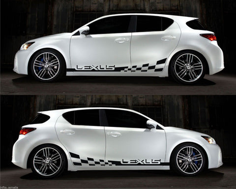 Lexus CT 200h VVTi Hybrid Electric Toyota racing Stripe Sticker Kit Checkered V2 - Infinity270