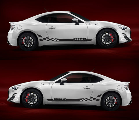 SSK014 Toyota GT 86 Checkered TRD FR-S Subaru Hachi-Roku Sport Car Stripes Kit Sticker - Infinity270