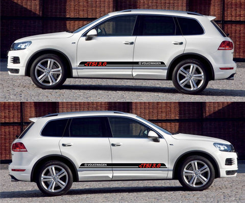 vw stickers Volkswagen Volks Racing Touareg TSI 3.0 SUV Blue Motion Stripe Kit Sticker amg drift tuned - Infinity270