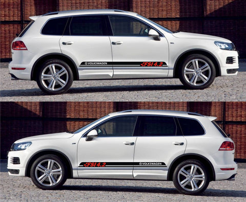 vw stickers Volkswagen Volks Racing Touareg FSI 4.2 SUV Blue Motion Stripe Kit Sticker speed energy boost nos speed drift - Infinity270