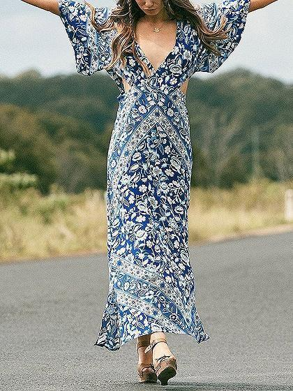 Blue V-neck Floral Print Thigh Split Side Open Back Maxi Dress