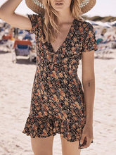 Load image into Gallery viewer, Black V-neck Floral Print Chic Women Mini Dress