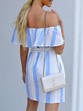 Load image into Gallery viewer, Blue Stripe Cotton Off Shoulder Tie Waist Chic Women Mini Dress