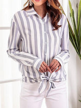 Load image into Gallery viewer, Blue Stripe Cotton Blend Tie Front Long Sleeve Chic Women Shirt
