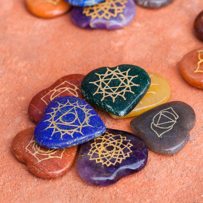 7-Stone Chakra Hearts Set - Crystal Magic online