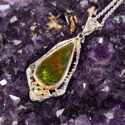 Ammolite and Peridot Necklace-Jewelry: Necklace-Crystal Magic online