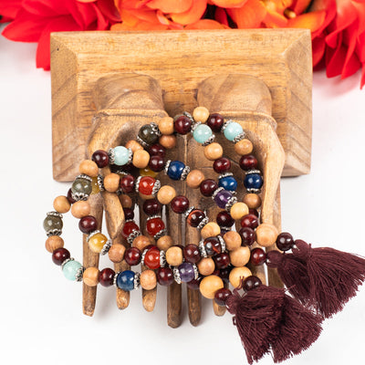Rosewood Cypress Wood Gemstone Wrist Mala-Jewelry: Mala-Crystal Magic online