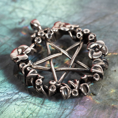 Pentacle With Flowers Pendant-Jewelry: Pendant-Crystal Magic online