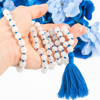 Moonstone 108 Bead Mala-Jewelry: Mala-Crystal Magic online