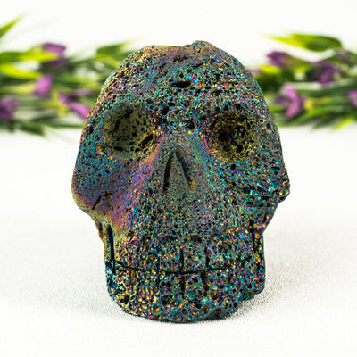 Rainbow Aura Lava Rock Skull - Crystal Magic online