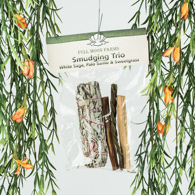 Smudging Trio-White Sage, Palo Santo, & Sweet Grass - Crystal Magic online