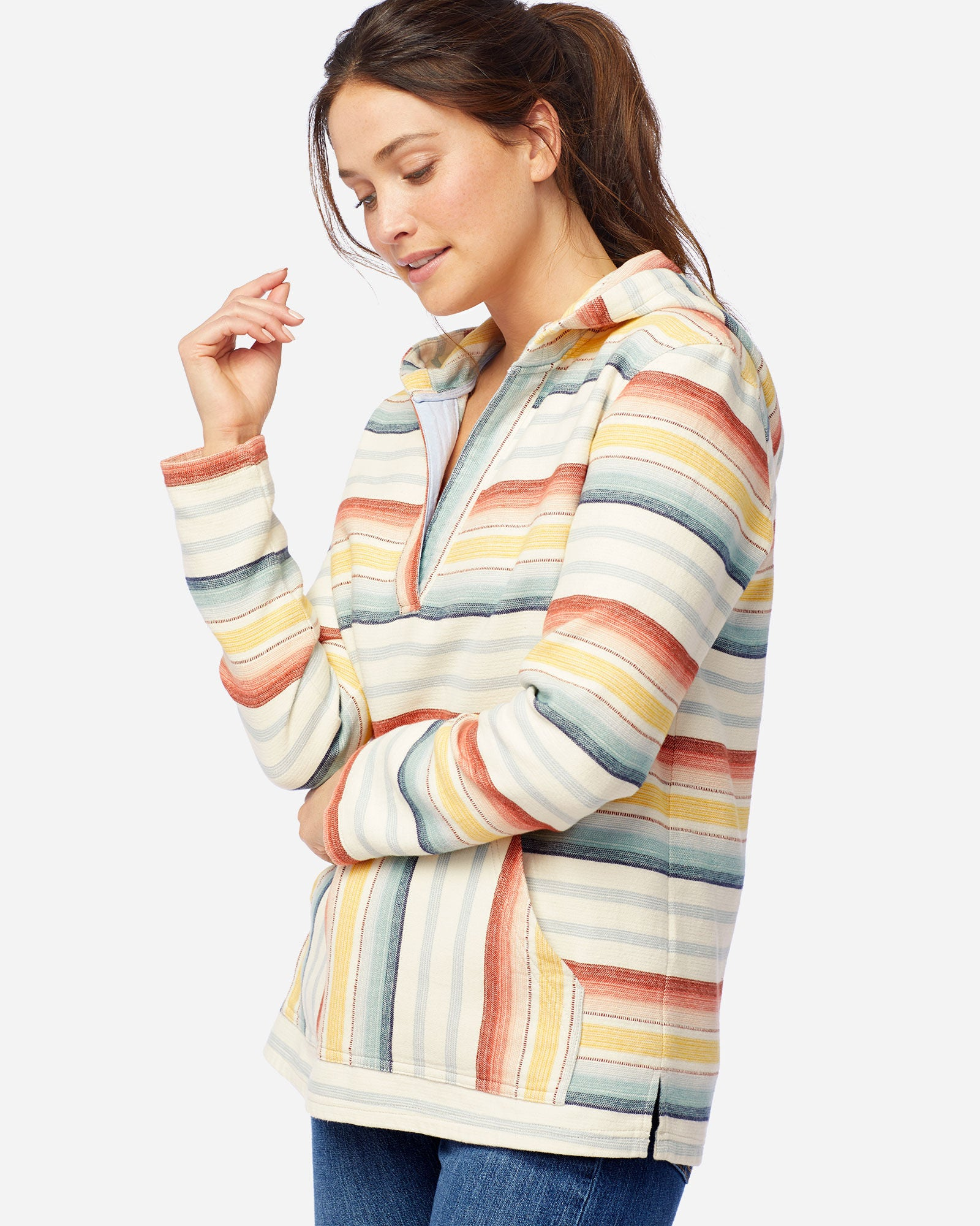 Women's Surf Stripe Hooded Pullover by Pendleton