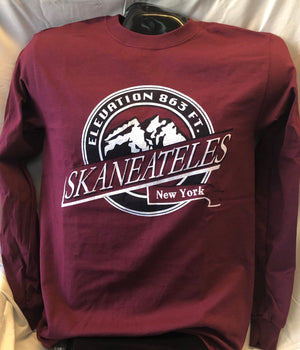 Skaneateles New York Elevation Long Sleeve T-Shirt - Maroon