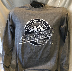 Skaneateles New York Elevation Long Sleeve T-Shirt - Grey