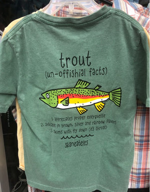 Youth Trout Shirt - Green (Back)