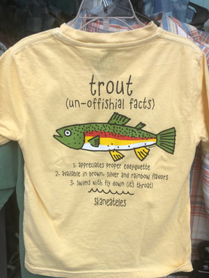 Youth Trout Shirt - Yellow (Back)