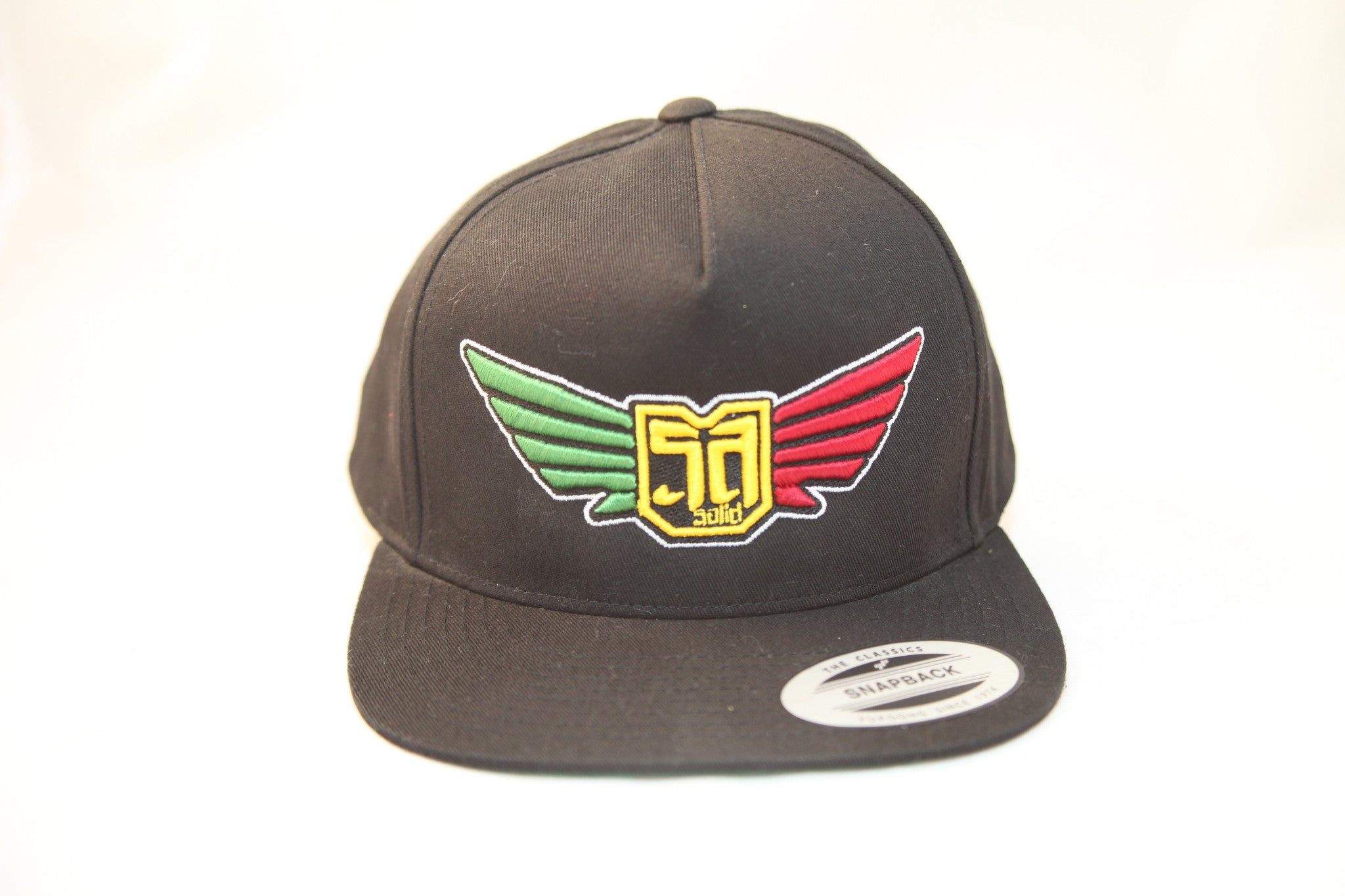 AV8 - FLEXFIT SNAP BACK HAT - BLACK - RASTA LOGO