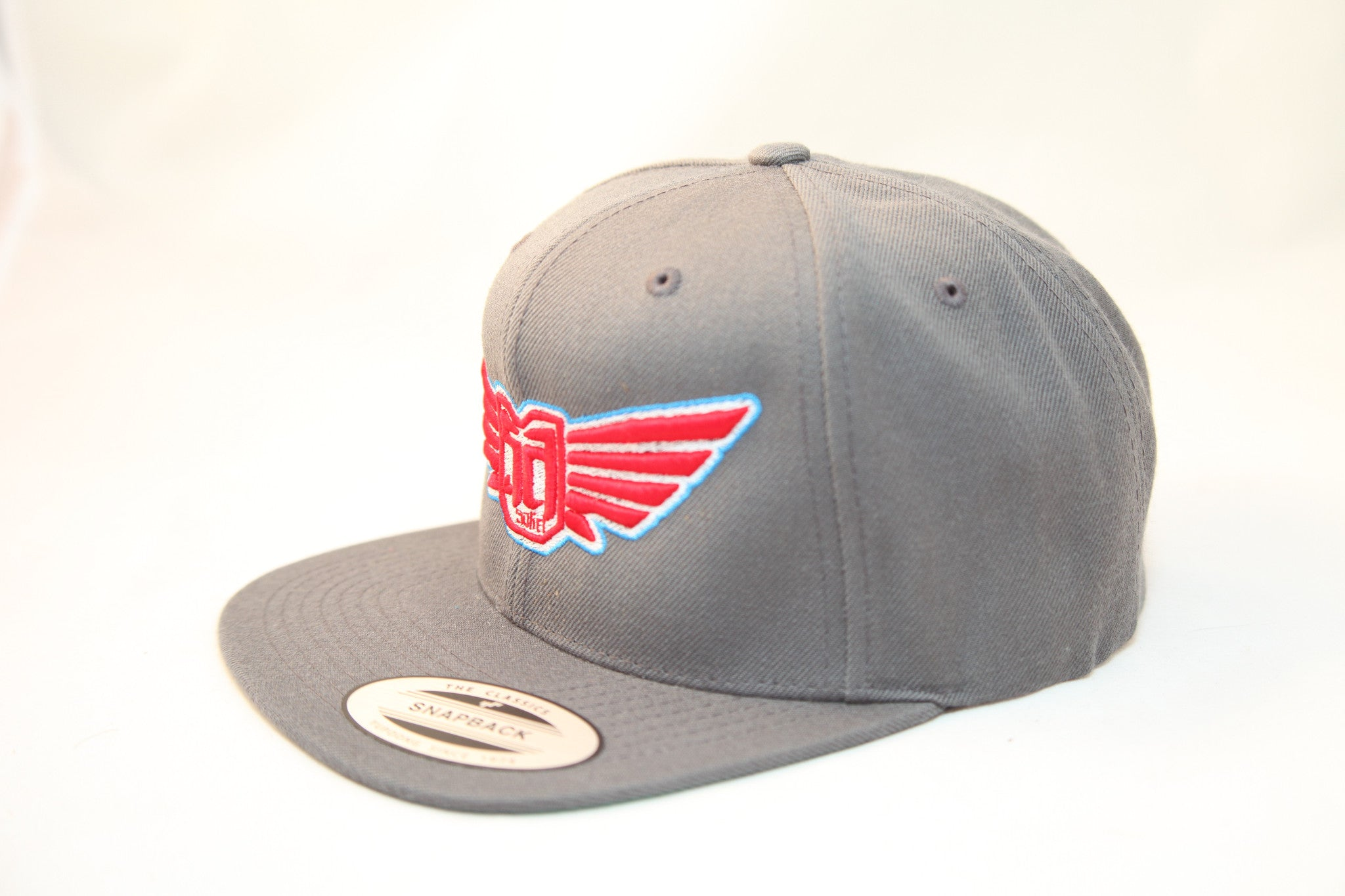 FLEXFIT SNAP BACK HAT - CHARCOAL - LRED / WHT / BLUE LOGO