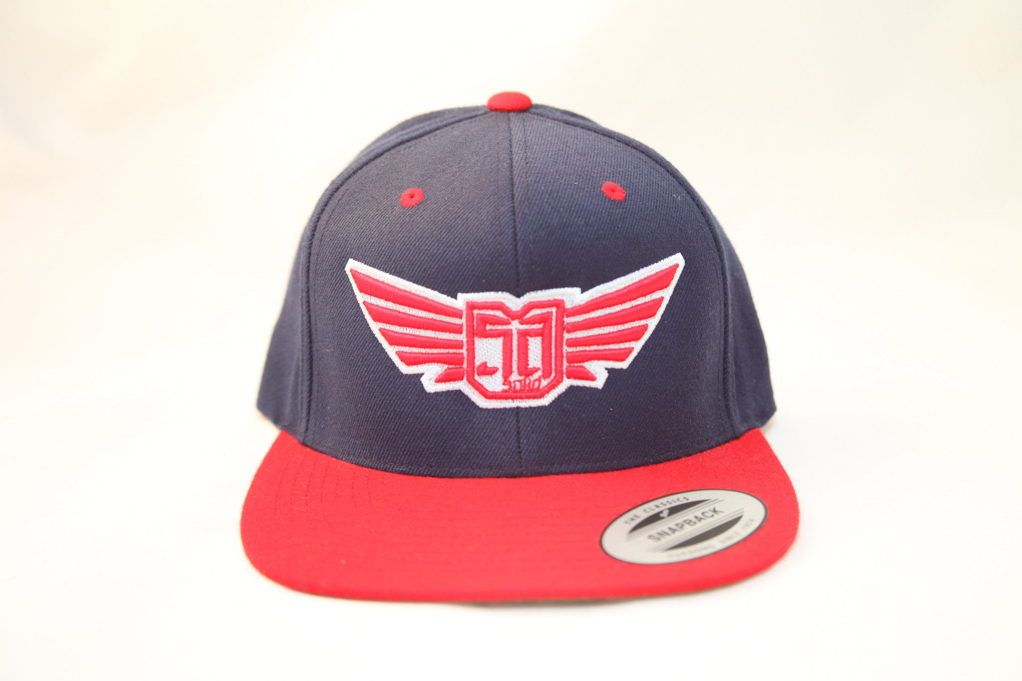 AV8 - FLEXFIT SNAP BACK HAT - NAVY / RED - WHT / RED LOGO