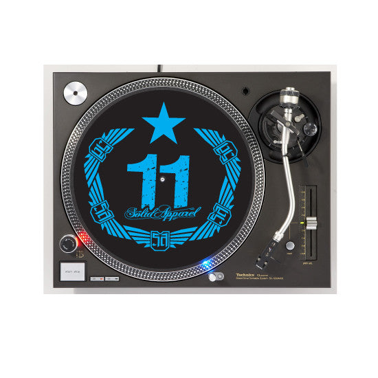 TURNTABLE - SLIP MATS - CREST - BLACK & CYAN