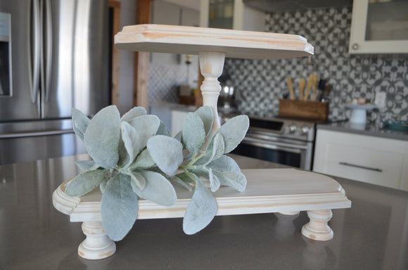White Farmhouse Tray...Tiered Tray...Double Tiered Tray...Farmhouse Wood Tiered Tray...Riser...Cupcake Tray...Farmhouse Decor