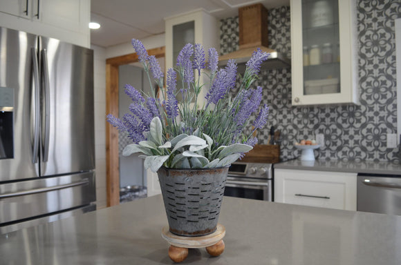 Mini Wood Riser and Olive Bucket with Lavender and Lambs Ear...Wood Riser...Farmhouse Decor...Farmhouse Riser...Mini Pedestal Riser