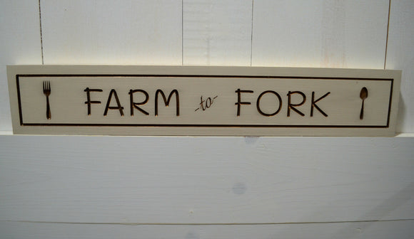 Farm to Fork Sign...Farmhouse Sign...Rustic Sign...Wall Decor...Engraved Sign...