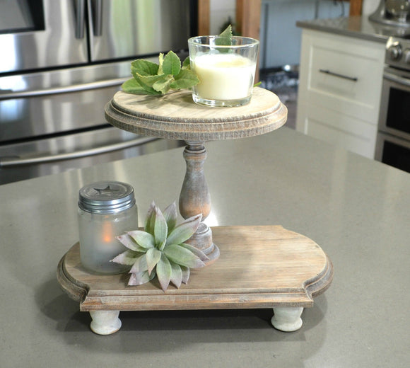 Farmhouse Weathered Wood Tray...Double Tiered Tray...Farmhouse Wood Tiered Tray...Riser...Weathered Wood...Farmhouse Decor...Cupcake Stand