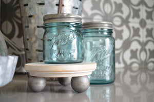 Wood Riser...Zinc Look Ball Feet... Farmhouse Decor...Wood Stand...Farmhouse Riser...Pedestal...Mason Jar Stand...Distressed Wood Riser...