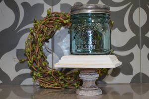 Square Wood Mini Riser...Farmhouse Decor...Wood Stand...Farmhouse Riser...Pedestal...Mason Jar Stand...Weathered Wood Riser...Candle Riser