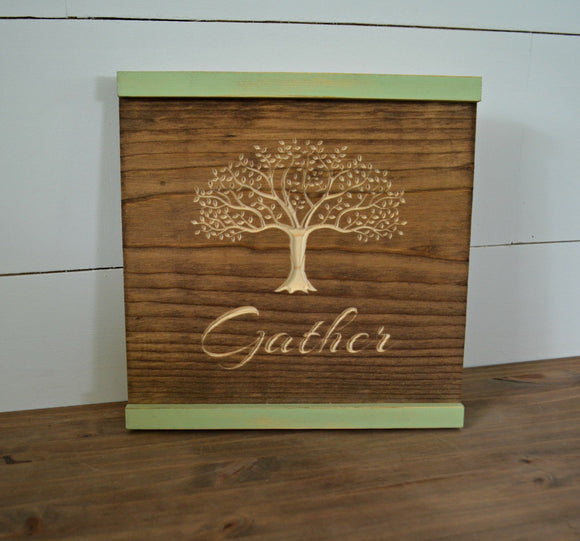 Farmhouse Gather Sign...Engraved Farmhouse Sign...Wall Decor...Gather
