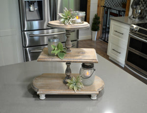 Triple Tiered Tray...Farmhouse Weathered Wood Tray...Farmhouse Tiered Tray...Triple Riser...Weathered Wood...Farmhouse Decor...Cupcake Stand