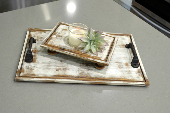 Set of Farmhouse Trays...Distressed Trays...Wood Riser...White Trays...Set of Two Trays...Square Trays