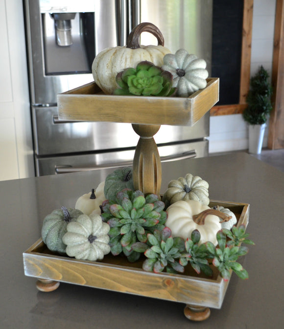 Double Tiered Wood Tray...Harvest Tray...Two Tiered Tray...Farmhouse Tray...Double Riser Tray...Farmhouse Decor...