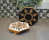 Set of Two Engraved Snowflake Wood Risers...Old World Christmas...Wood Stands...Farmhouse Wood Risers...Rustic Riser Set...Engraved Risers