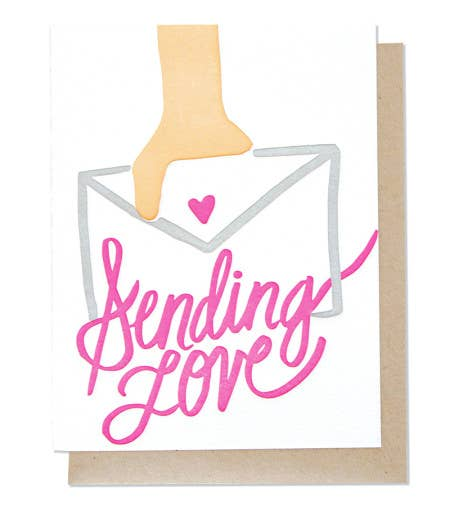 Sending Love Single Letterpress Card