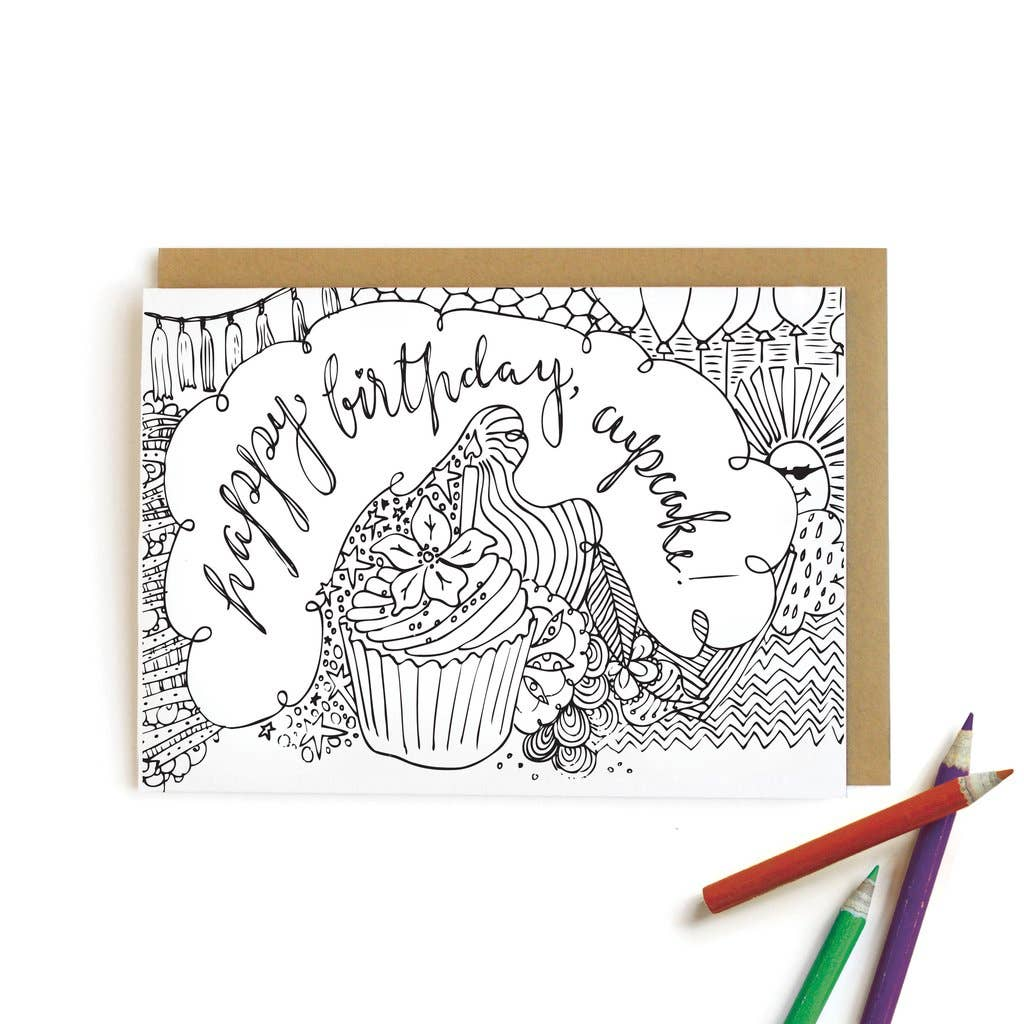 Cupcake Birthday Card | Kids Coloring Cards