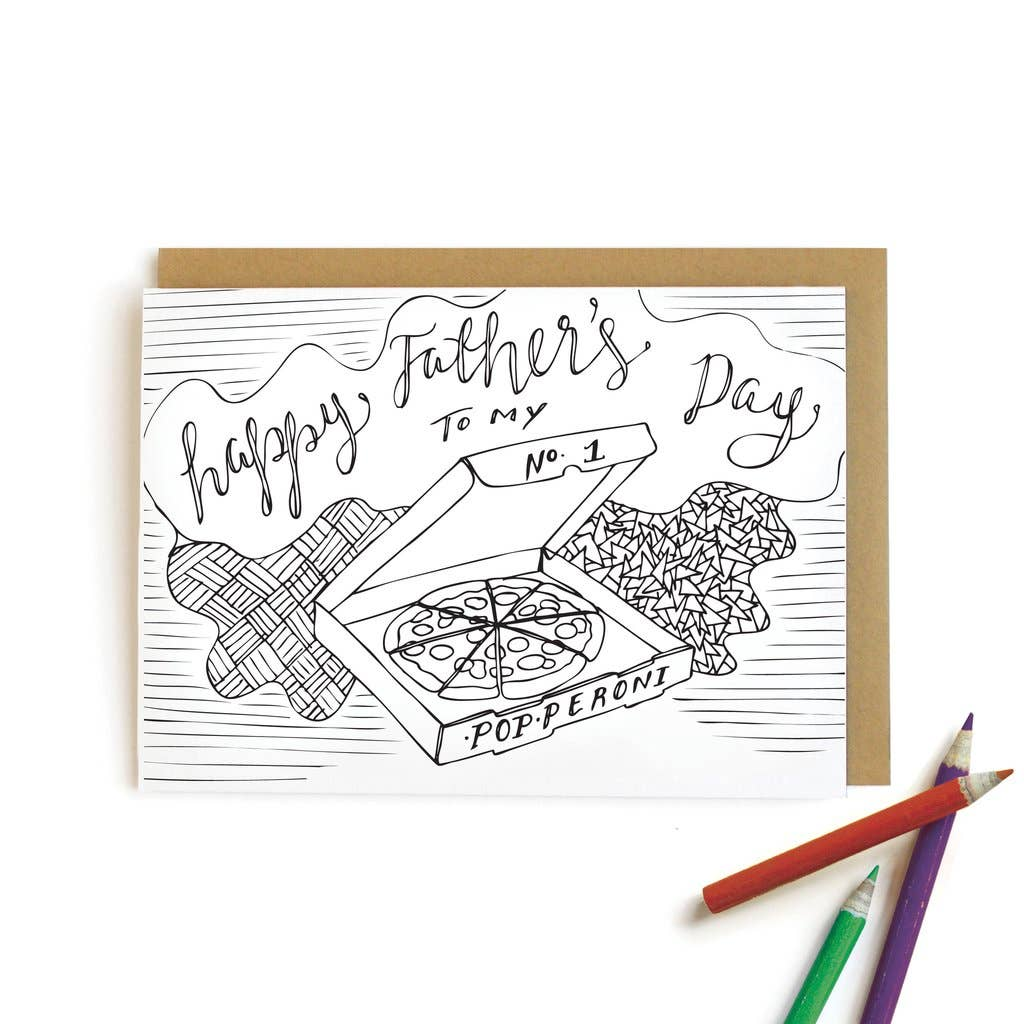 Pizza Dad Card | Kids Coloring Cards