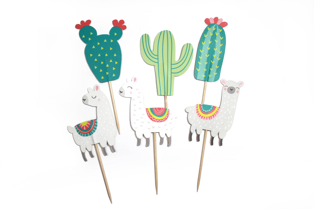 Llama and Cactus - Cupcake Toppers, 12 ct