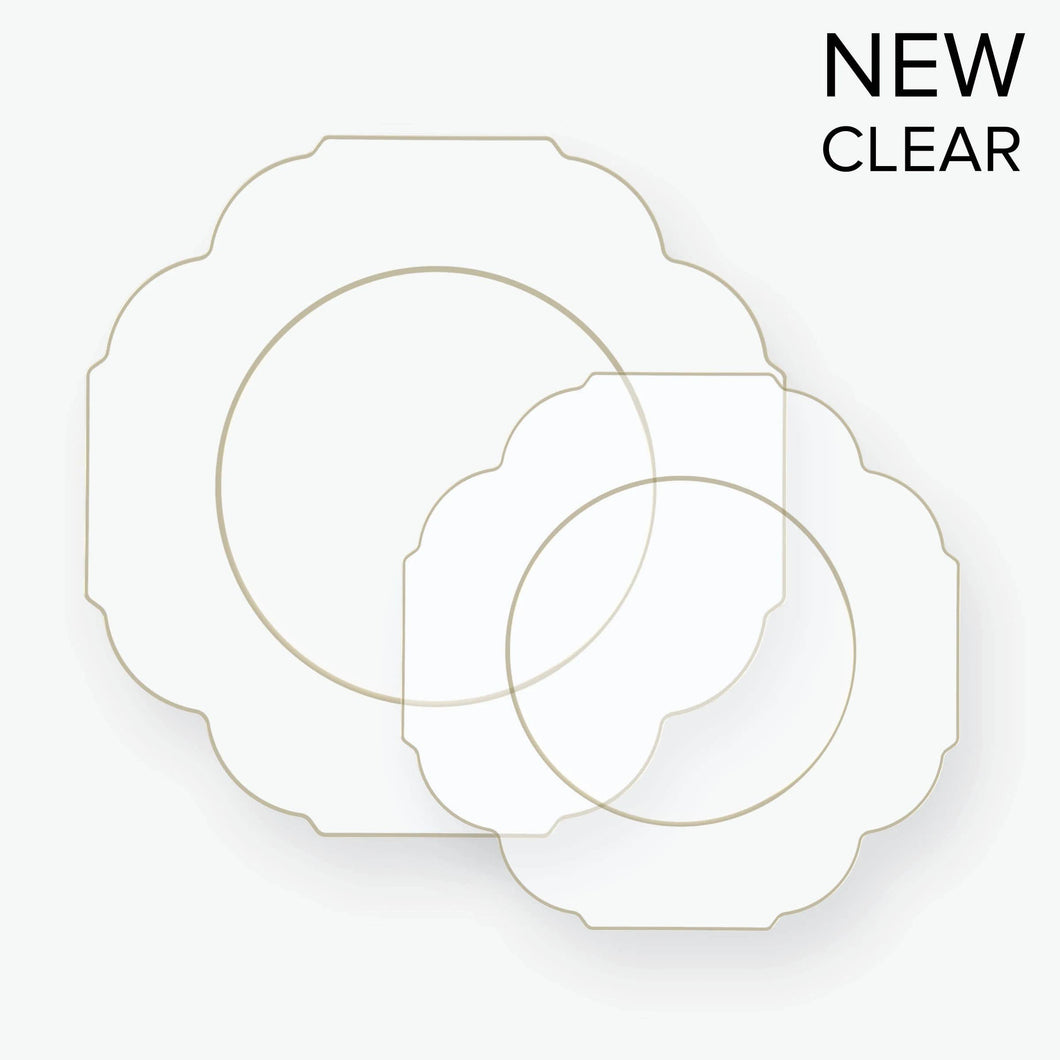 Scalloped Clear, Gold Plastic Plates | 10 Pack