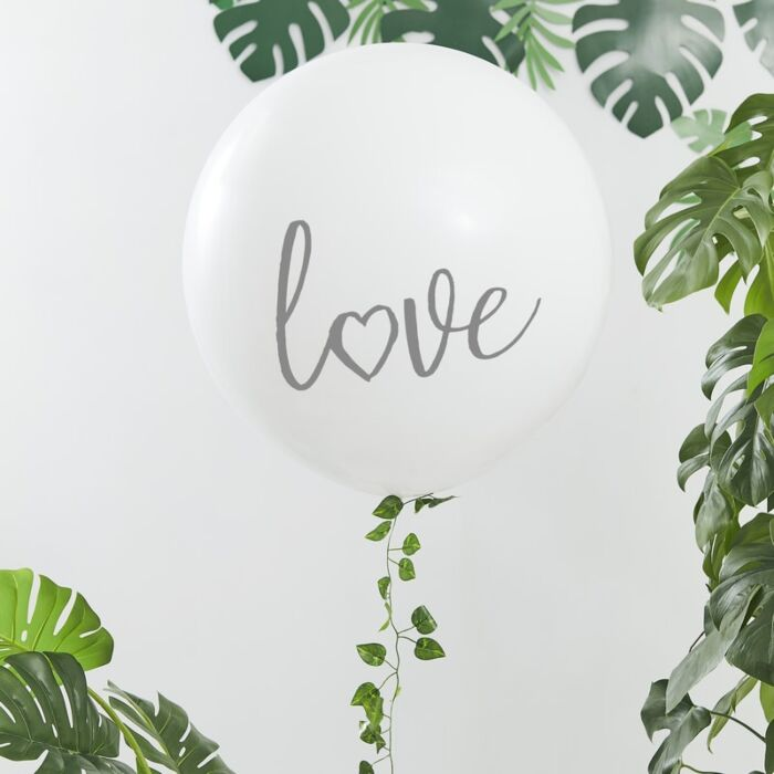 Giant White Printed Love Balloons
