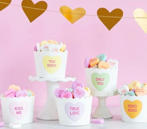 Candy Hearts Treat and Baking Cups