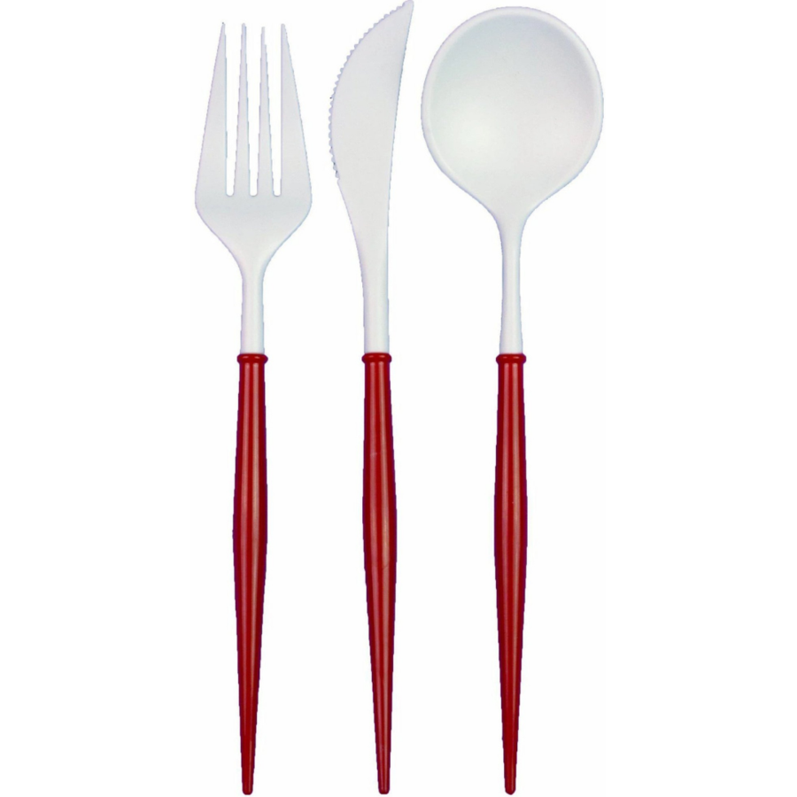 Red Cutlery Set