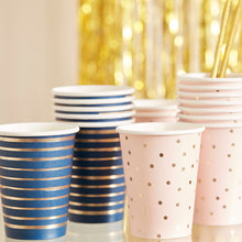 Load image into Gallery viewer, Gold Foiled Pink and Navy Blue Cups