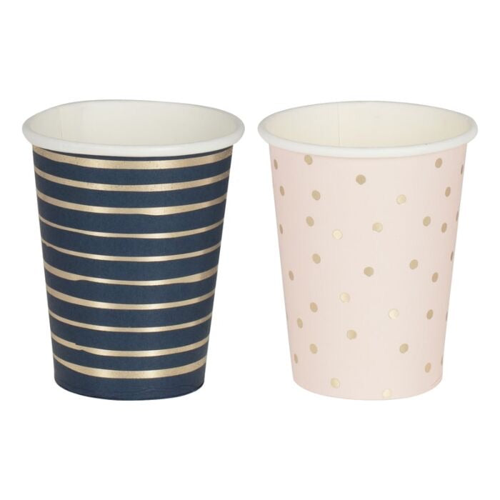 Gold Foiled Pink and Navy Blue Cups